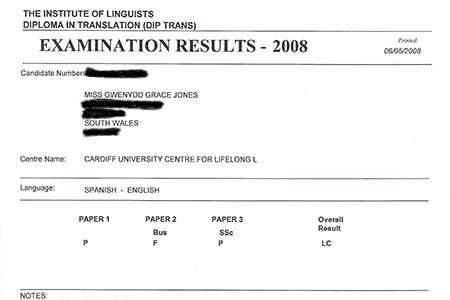 My IoL diploma in translation exam pass-fail letter