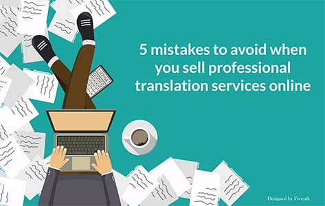 Cartoon image of man with computer buying a professional translation service online