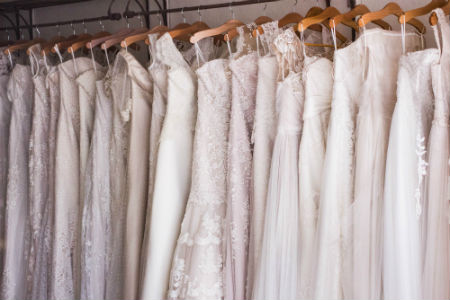 Wedding dresses representing a part of translating Spanish-English fashion.